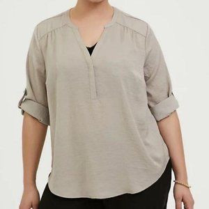 Torrid Harper Taupe Charmuse Pullover Blouse